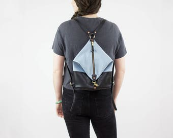 Leather Backpack - Light Denim and Black Leather Mini Backpack - Canvas Backpack - Backpack Purse - Leather Bag - Leather Purse