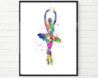 Ballerina Watercolor Print, Wall Decor Home Decor Instant Download Printable Colorful Dancer Ballet