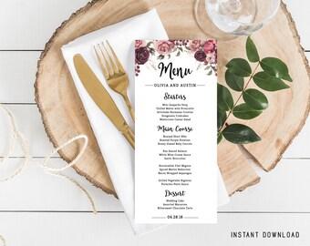Wedding Menu Card, Menu Template, Wedding Reception Menu, Editable Menu, Marsala Wedding, Editable Wedding Menu, Instant Download