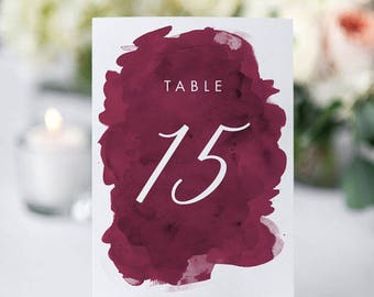 Printable Table Number Cards - Modern Burgundy Wedding Table Numbers Printable - Wedding Reception - Number 1 to 20 - (Item code: P1018)