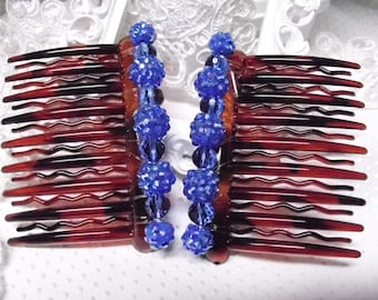 Royal Blue Rhinestone ball beads and Austrian crystal beads hand made large hair comb pair with gripper teeth