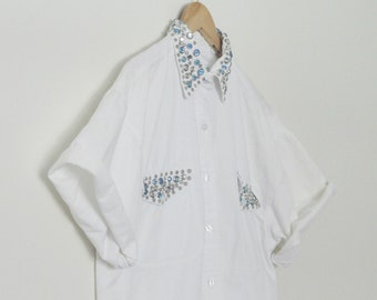 BEDAZZLED 1990s Oversized Bejeweled Novelty White Button Up