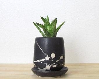 Small Matte Black Splatter Planter. Little succulent planter. Modern. Handmade ceramic planter. Drainage dish. READY TO SHIP.