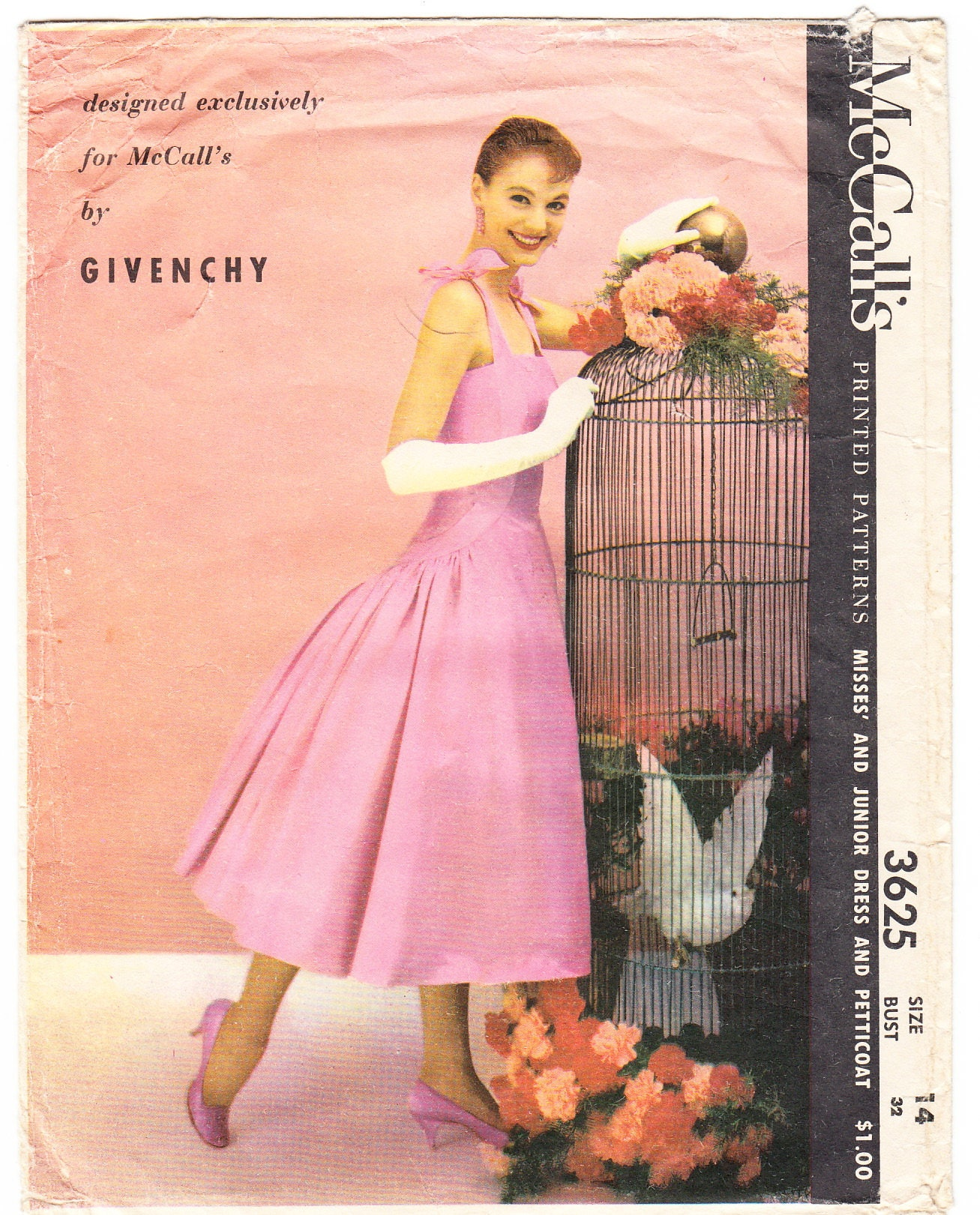 Vintage 1956 McCall\'s 3625 Designer Givenchy Sewing Pattern Junior\'s ...