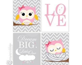 "Owl Nursery Decor Set - Dream Big Little One - Love Typography - Gray and Pink Chevron Girl Set - INSTANT DOWNLOAD (8X10"" JPEG)"