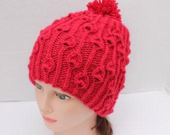 Rosebuds Pompom Hat, Hand Knit Women Hat, Hand Knit Teens Hat, Hand Knit Girl Hat, Knit Wool Hat, Red Pompom Hat