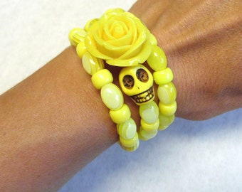 Sugar Skull Bracelet Day Of The Dead Jewelry Yellow Rose