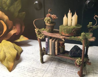 Faery Bookshelf - miniature fairy furniture, fairy shelf, miniature bookshelf, crystals, books - ooak handmade by thefaeryforest