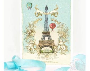 Eiffel Tower card, Paris, hot air balloon, French holiday, Christmas, romantic travel, all occasion card