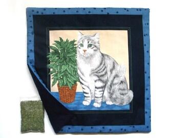 Catnip Mat plus Catnip Cats Silver Tabby   Refillable Reversible