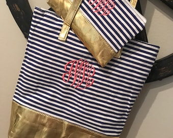 Navy Striped Tote with gold trim