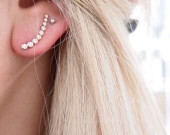 CZ - jewelry earrings - gold plated ear cuff earrings 18K and 750 gold plated rhinestone earrings