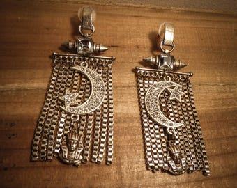 Silver Moon earrings rhinestone Pharaoh