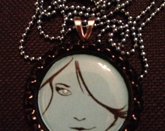 Retro Blue Lady Bottlecap pendant necklace on ball chain