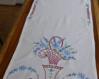 Vintage, hand-embroidered table runner, basket with blue flowers, circa 1940 -- free shipping