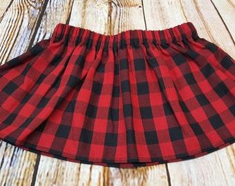 Red and Black Buffalo Plaid Cotton Skirt