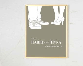 Personalized Wedding Gift for Couple, wedding gift for women, personalized wedding wall art, wedding gift art print, engagement gift for her