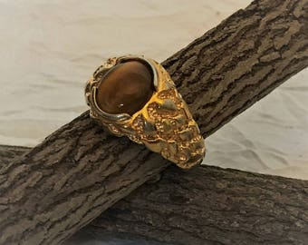 Ring - 18K HGE with Tiger's Eye Cabuchon - SZ 12