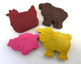 4 Farm Barnyard Animal Crayons Party Favors - Cow - Pig - Sheep - Chicken