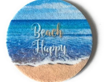 Beach Happy Car Coasters - Set of two super absorbent car coasters for your cars cup holder - Free Shipping - Beach Cup Holder Coasters