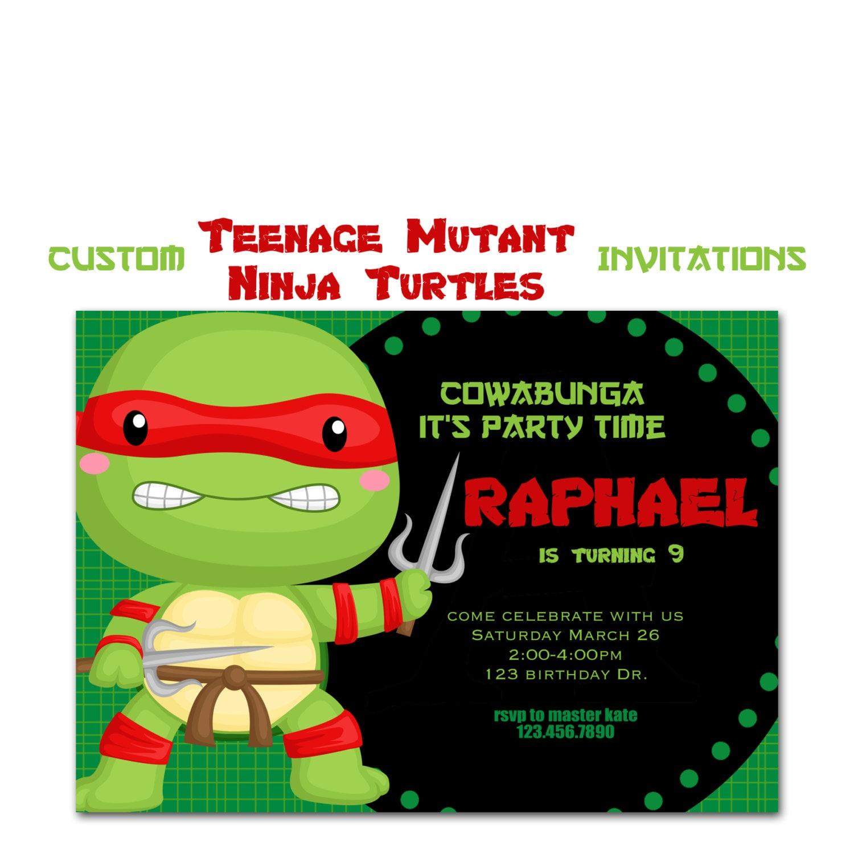 Teenage Mutant Ninja Turtle Invitiation Custom Turtle