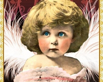 Vintage Winged Girl Etsy Shop Banner and Avatar by Sea Dream Studio OOAK