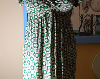 geometric, pattern, design,empire, green, circles, shapes, sale, vintage, dress, rare, mint