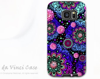 Paisley Floral Case for Samsung Galaxy S7 - Premium Dual Layer S 7 Case with art - Frily Floratopia - Purple and Pink - By Da Vinci Case