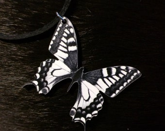 Butterfly Necklace, black and white, Nature, animals, hippie, boho, bohemian