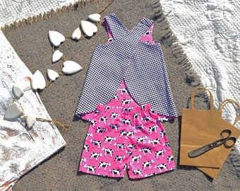 Reversible Gingham & Pink Cow Dress and Shorts