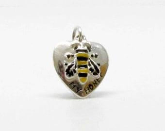 HONEY, BEE, HEART, Charm, Heart Charm, Silver Heart, Bridesmaids Gift, Barn wedding, Barn Wedding Favors, Boho Jewelry, Mom Gift, wife Gift