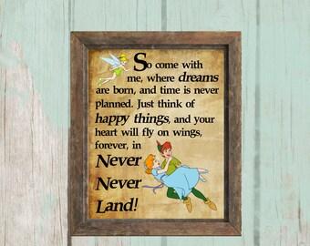 8x10 Neverland Printable | Peter Pan | Tinkerbell | Nursery Decor - INSTANT DOWNLOAD