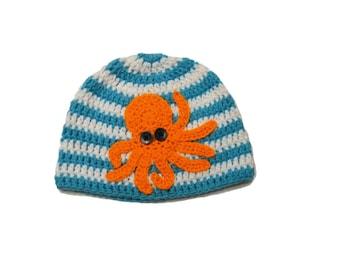 Octopus Hat Crochet Nautical Beanie Orange Octopus Striped Beanie Infant to Adult Crochet Hat Newborn Summer Hat Kids Octopus Hipster Kraken