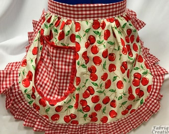 Retro Vintage 50s Style Half Apron / Pinny - Ivory & Red - Cherries (Cherry) with Gingham Trim