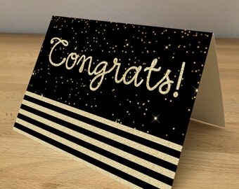 Personalized Note Cards - Black and Gold Sparkle