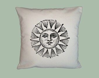 Ancient Sun Illustration, HANDMADE 16x16 Pillow Cover, Choice of Fabric