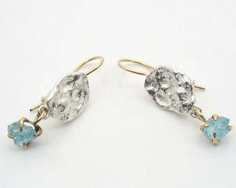 sky-drop earrings,raw Apatite set in gold dangling from silver nuggets, gold wire for the ears, organic look and shape, eye catching.