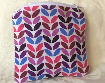 Purple, Pink and Blue Patterned Coin Pouch