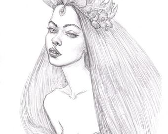 Deep Sea Priestess ORIGINAL Drawing
