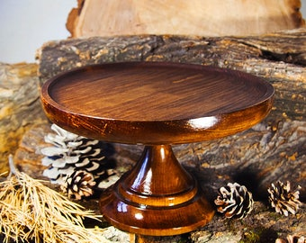 "Wooden Cake Plate Cake Stand Pedestal Cake Platter 10"" of SIBERIAN CEDAR WOOD Wedding Cake Pedestal Cake Plate #T2"