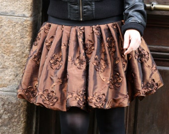Skirt ball copper taffeta Creation, applied embossed flowers. Festive balloon skirt