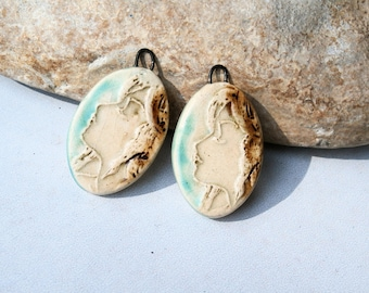 art nouveau pendant - handmade ceramic supply, goddess, 2 charms for earrings