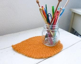 Wool felt leaf, vase doily, fabric lined, vase coaster, orange leaf, felted wool, wedding present, housewarming gift, woodland decor