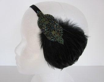 Gatsby Feather Headpiece 1920s Headpiece Roaring 20s Flapper Headband, stretch elastic headband, green Beaded Headband with Black Feather