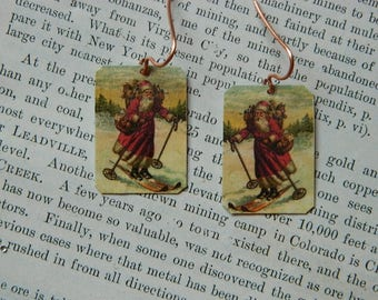 Santa earrings Santa Jewelry Currier and Ives Santa