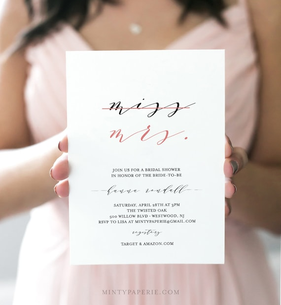 Bridal Shower Invitation Template, INSTANT DOWNLOAD, 100% Editable, Miss to Mrs, Printable, Simple Modern Bridal Shower, Templett DIY #136BS
