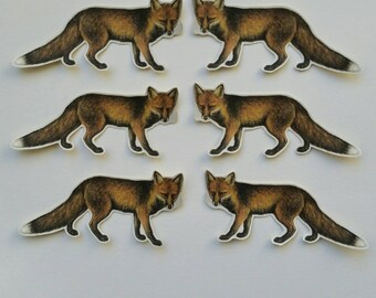 6 x Fox stickers. Snail mail hobonichi midori planner journal decorations. Ephemera.