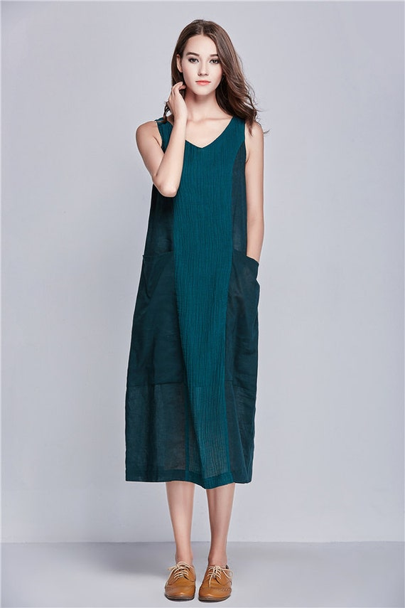 b86b7ae5770 linen tunic dress in green ...