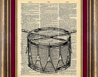 DRUM Unique gift Dictionary page art print book page art print up cycled