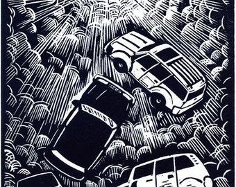 Rapture of the SUVs - original linoleum block print